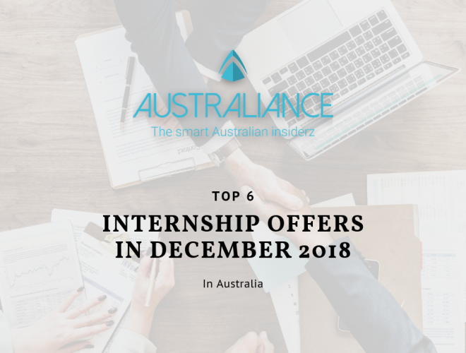 TOP 6 internship offers in Australia in December 2018