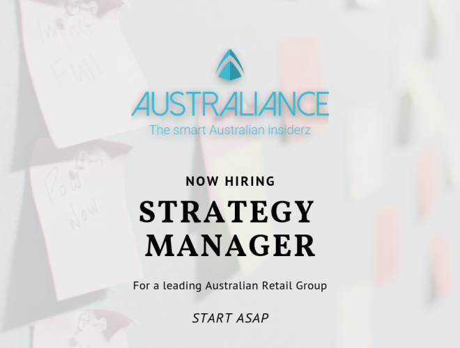 Job offer: Strategy Manager in a leading Australian Retail Group